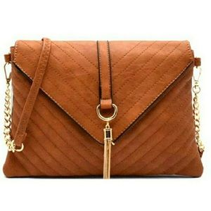 Handbags - 🆕 Tassel Access Chevron quilted Flap Clutch Brown